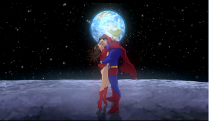 All Star Superman Superman and Lois kissing on the moon